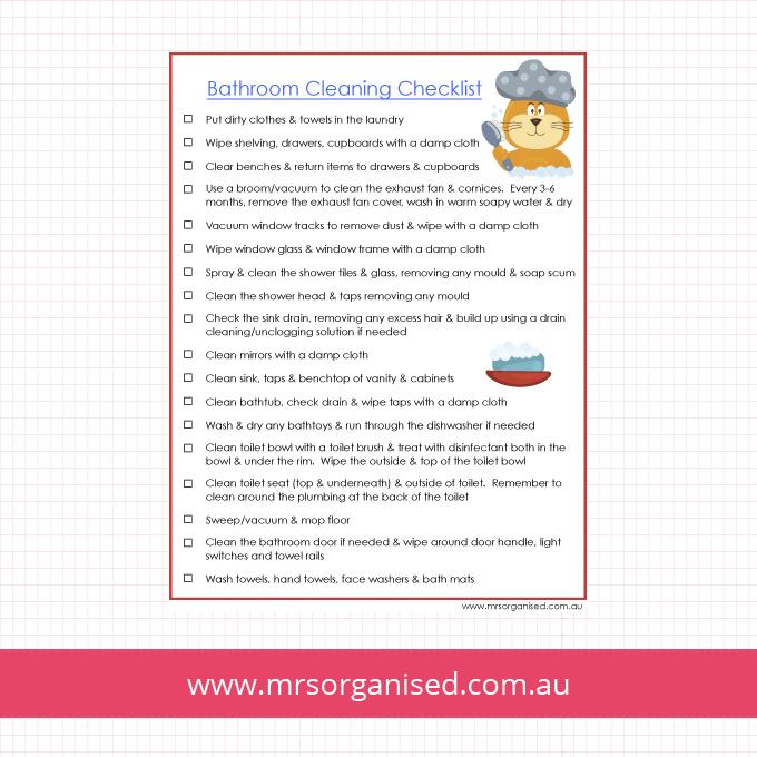 Bathroom Cleaning Checklist