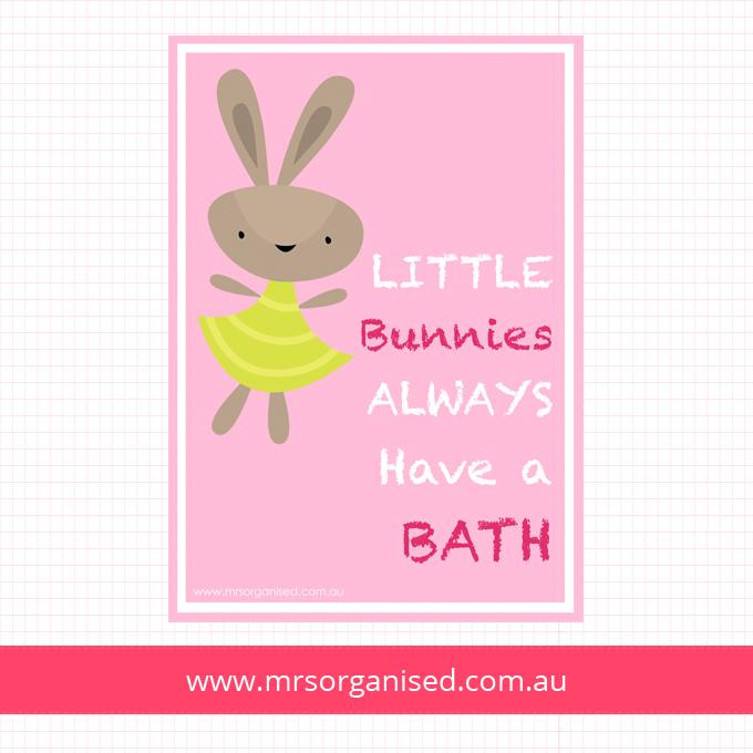 Little Bunnies Always Have a Bath Wall Art