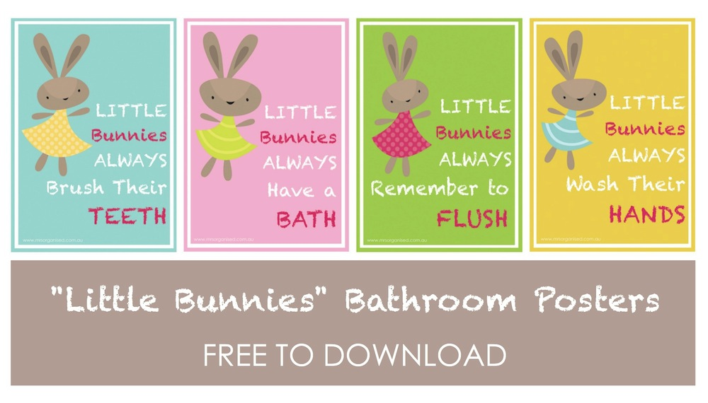 Little Bunnies Bathroom Posters 001