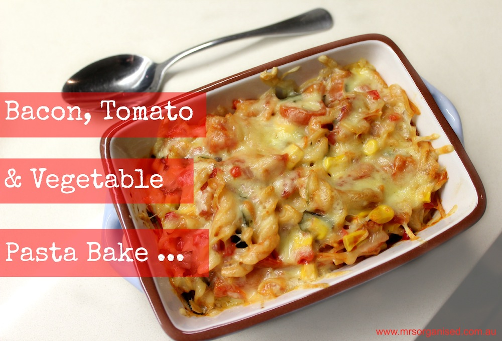 Bacon, Tomato and Vegetable Pasta Bake 001