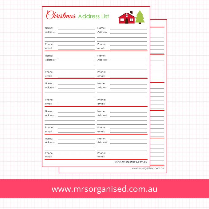 Christmas Address List