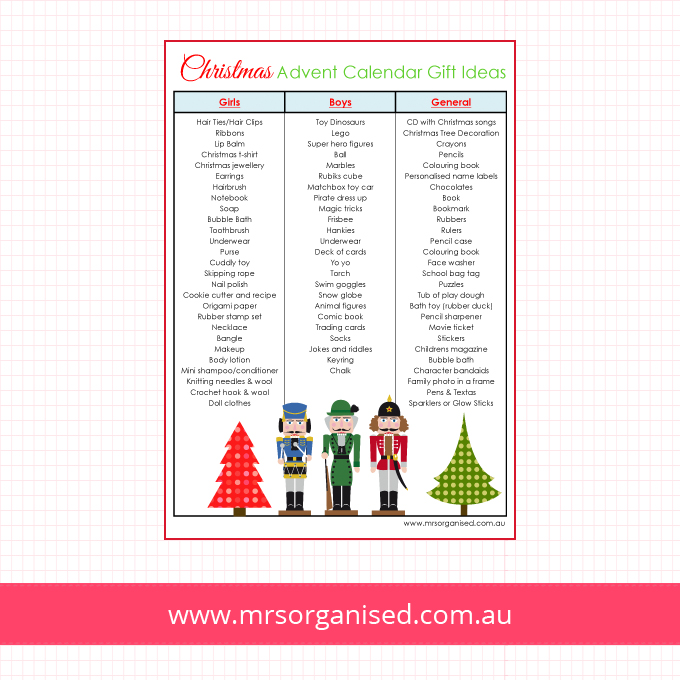 Advent Calendar List Ideas : Christmas