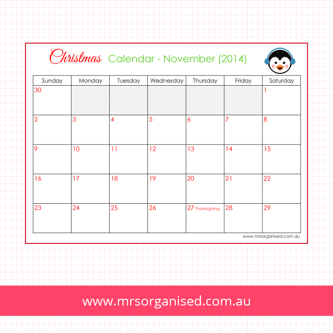 Christmas Calendar - November