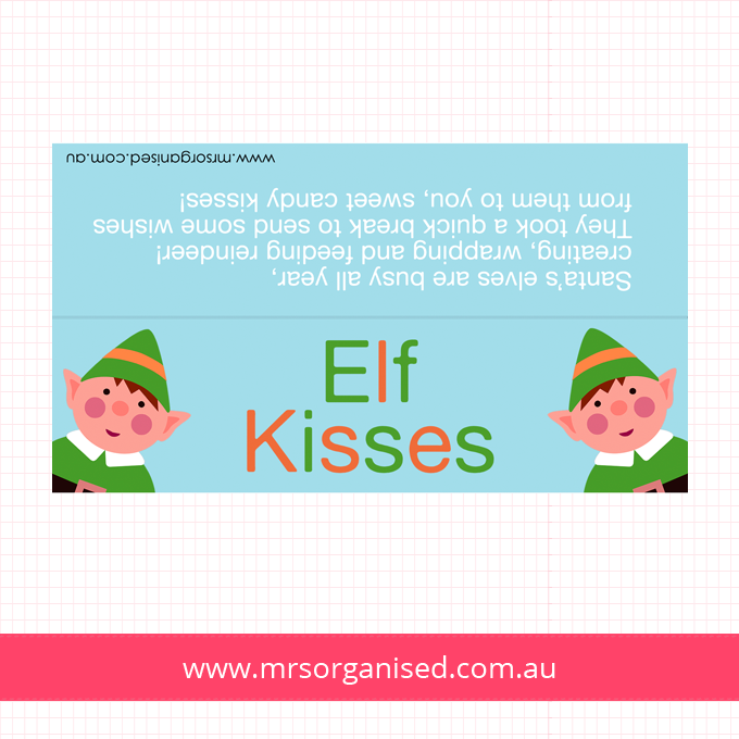image regarding Elf Kisses Printable referred to as Bag Toppers