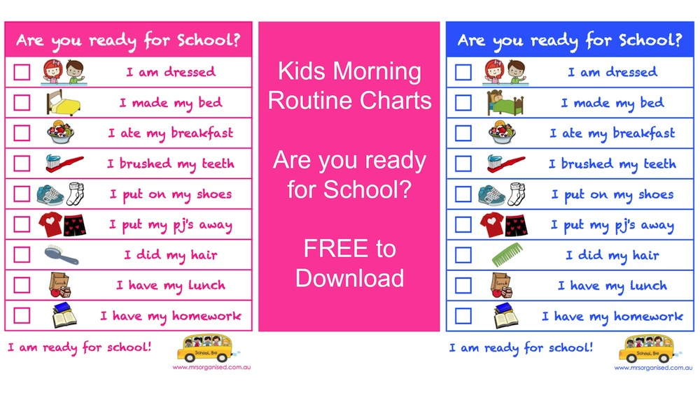 photograph about Children's Routine Charts Free Printable known as Small children Early morning Schedule Charts Are on your own Prepared for Faculty