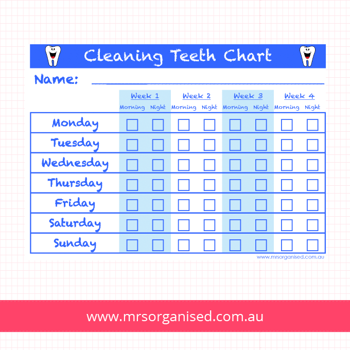 Cleaning Teeth Chart (Blue)