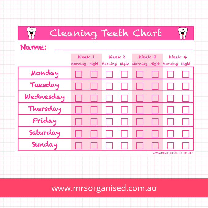 Cleaning Teeth Chart (Pink)