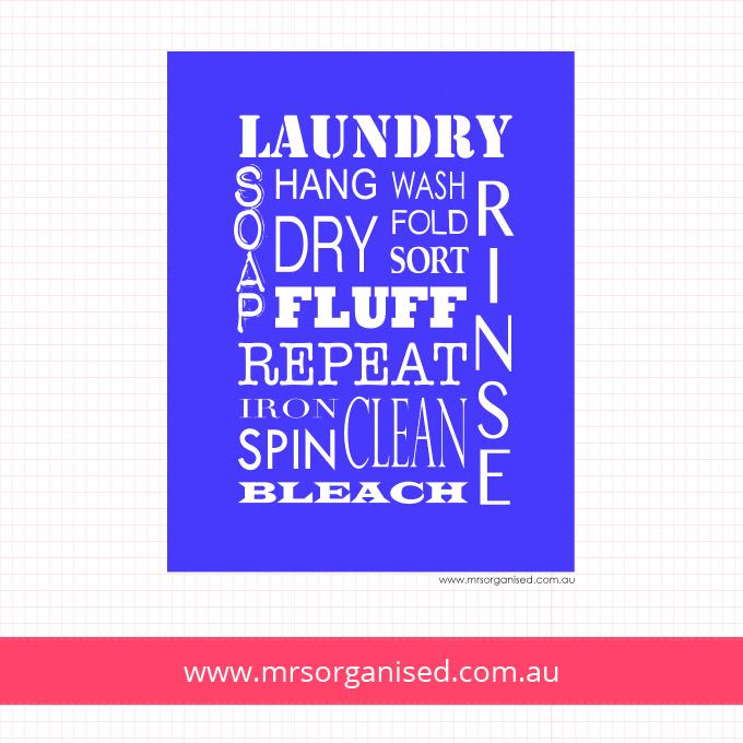 Laundry Wall Art (Blue)