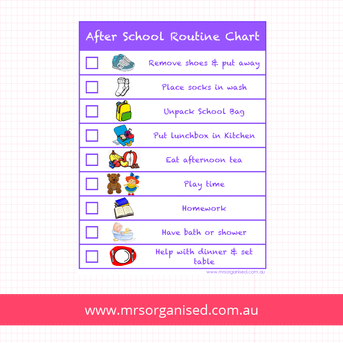 After School Routine Chart Version 1 (Purple)