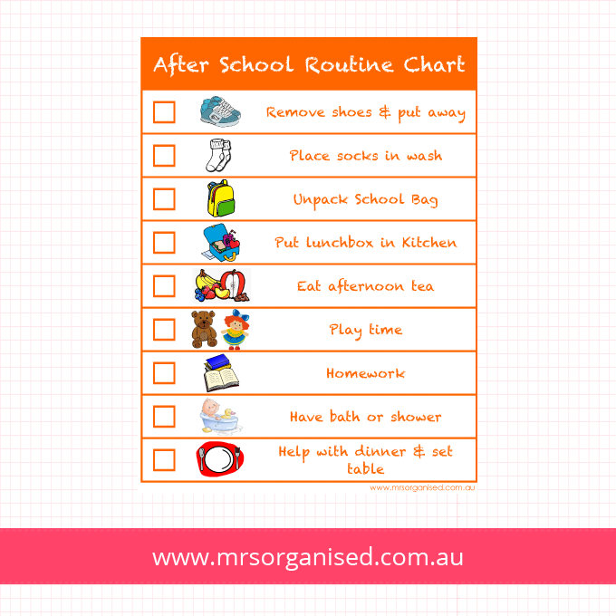 After School Routine Chart Version 1 (Orange)