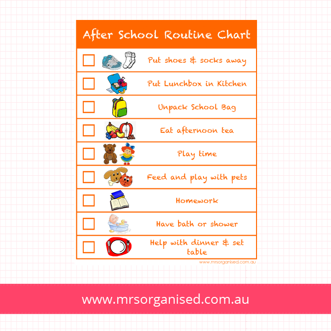 After School Routine Chart Version 2 (Orange)