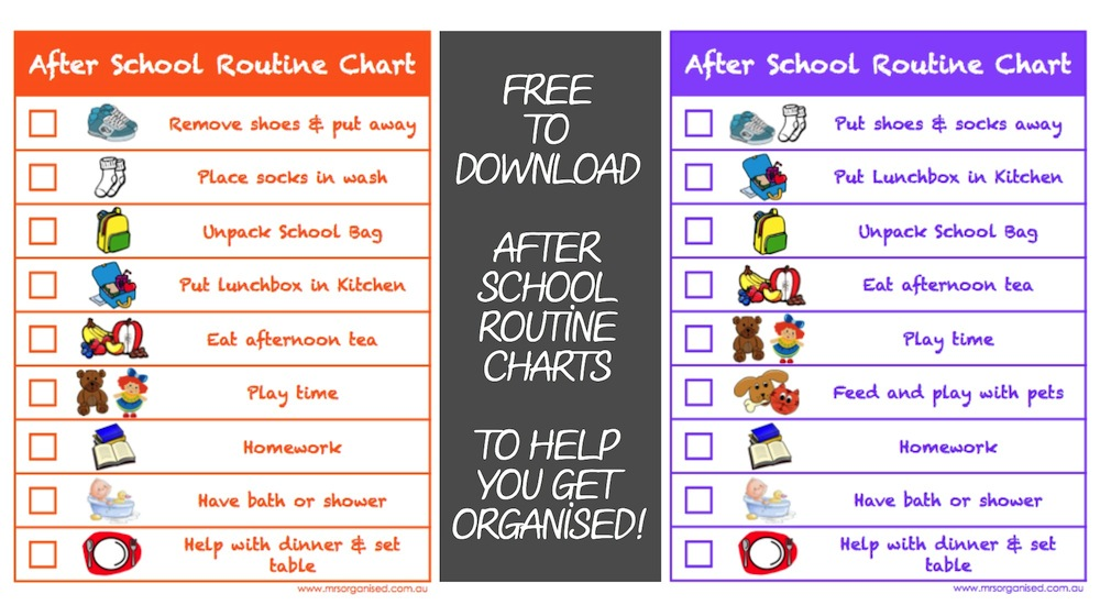 After School Routine Charts To Help You Get Organised  Free To