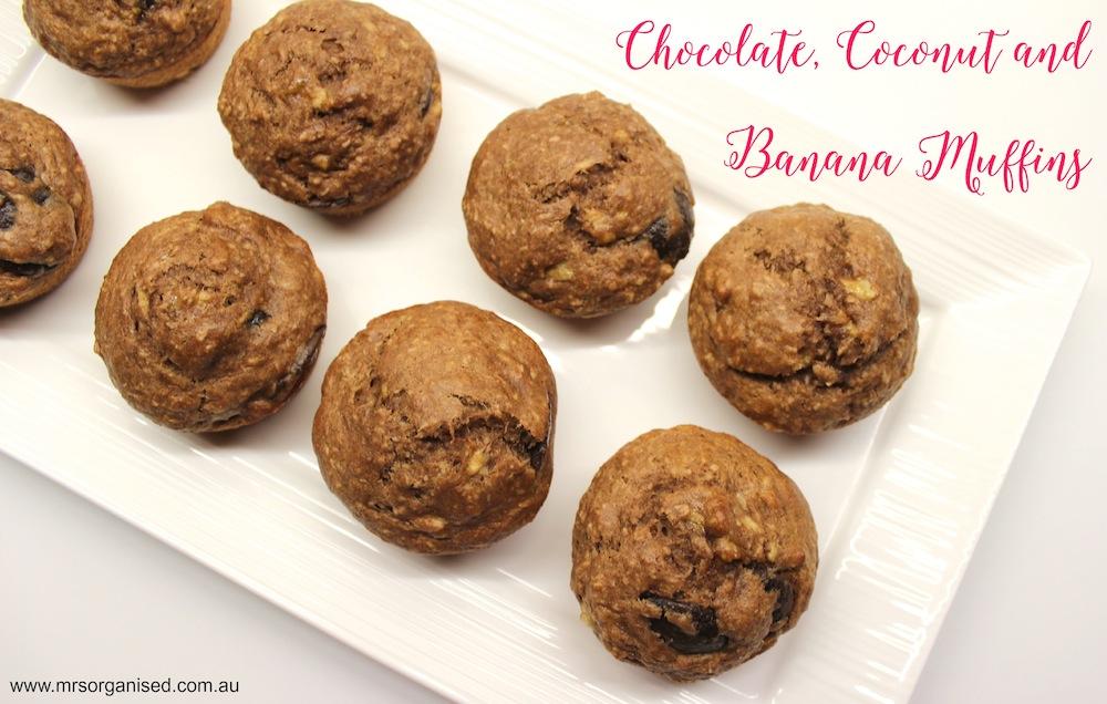 Chocolate, Coconut and Banana Muffins