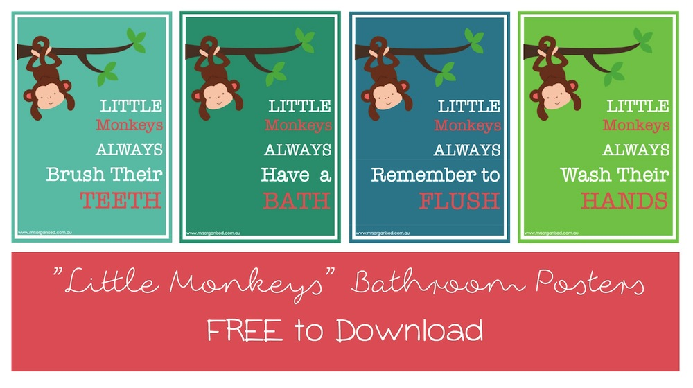 Little Monkeys Bathroom Posters 001