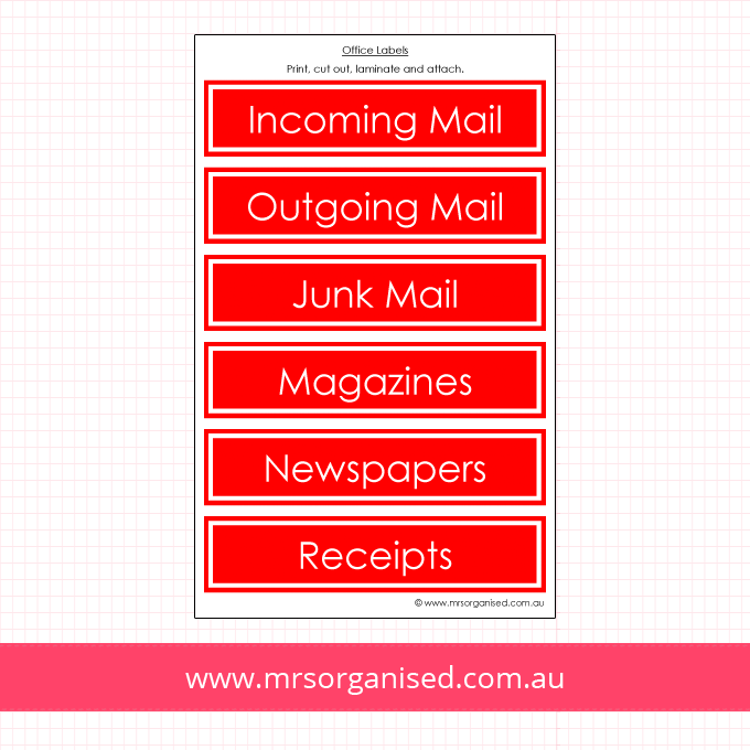 Sorting Labels for Mail, Magazines and Newspapers (Red)